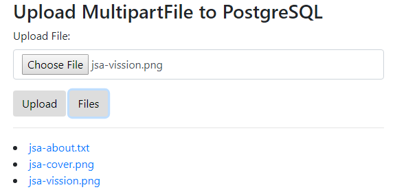 SpringJPA-Upload-Download-MultipartFile-to-PostgreSQL-using-JQuery-Ajax-Bootstrap4-get-all-files-views