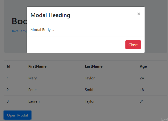 Angular-6-Bootstrap + integrate-results-modal