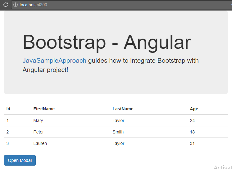 Angular-6-Bootstrap + integrate-results