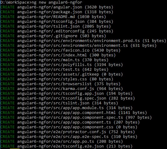 Angular-6-ngFor + create-angular-6-project