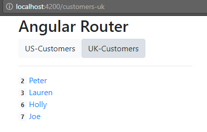angular-6-routing + uk - customer