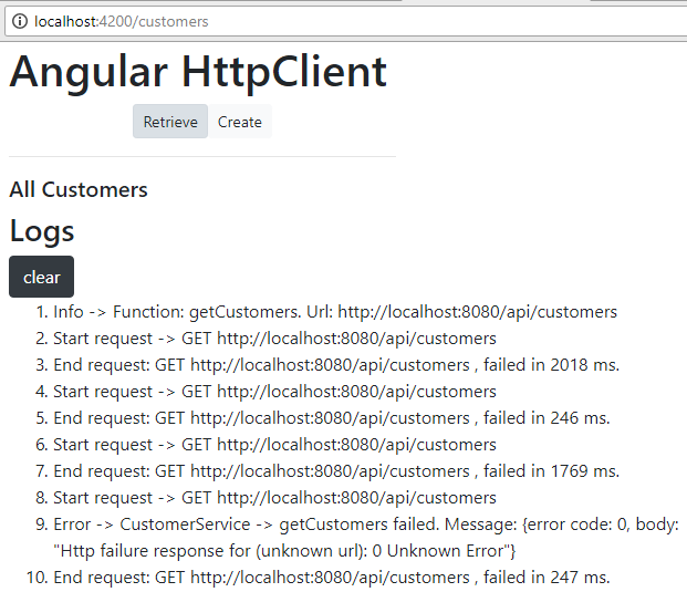 angular-6-httpclient-log-interceptor-example-with-nodejs-backend + log results when fail