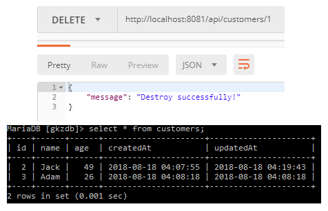 nodejs-express-rest-apis-post-get-put-delete-request-sequelize-crud-apis-mariadb + destroy-request