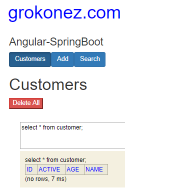 spring-boot-angular-6-httpclient-spring-rest-api-data-h2-in-memory-database + delete-all-customers