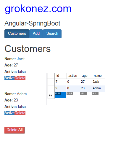 spring-boot-angular-6-httpclient-spring-rest-api-data-mariadb + delete-customer