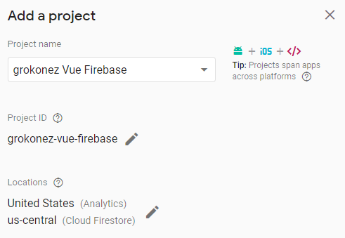 vuejs-firestore-example-note-app-add-firebase-project