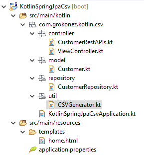 kotlin-springboot-restapi-download-csv-file-spring-jpa-mysql-project-structure
