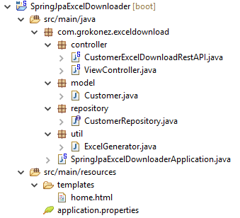 spring-boot-download-excel-file-restapi-mysql-spring-jpa-apache.poi-project-structure