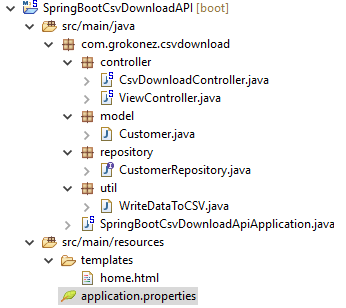 springboot-restapi-download-csv-file-springjpa-mysql-database-project-structure