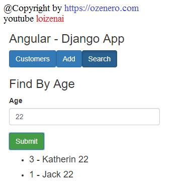 Django Rest Api Crud App - Angular Example Postgresql - Search Customers